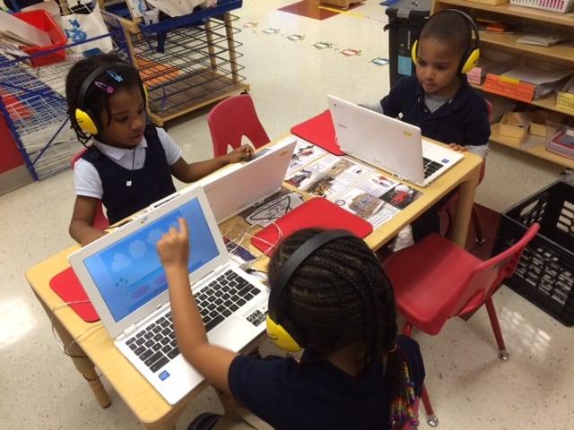 children using waterford at school
