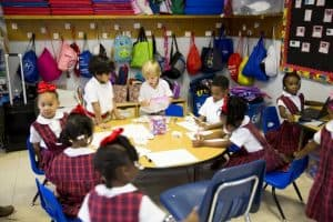 prek students do smartstart activities in classroom