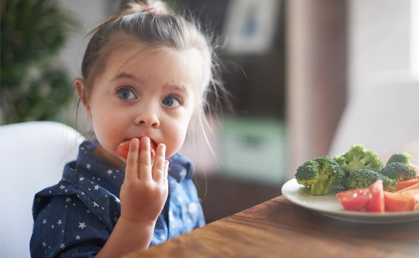 A young girl eats a healthy meal of vegetables. Find food assistance for your family.