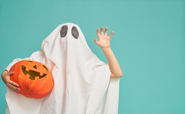 Classic halloween ghost costume made from materials around the house