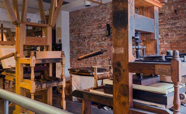 Benjamin Franklin's printing press, much like the one invented by Johannes Gutenberg. Picture: National Parks Service