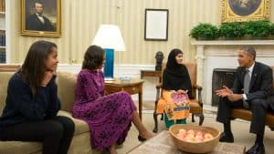 Malala Yousafzi meets with the Obama first family. Photo: White House archives