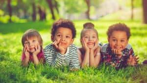 A group of children enjoying a summer day