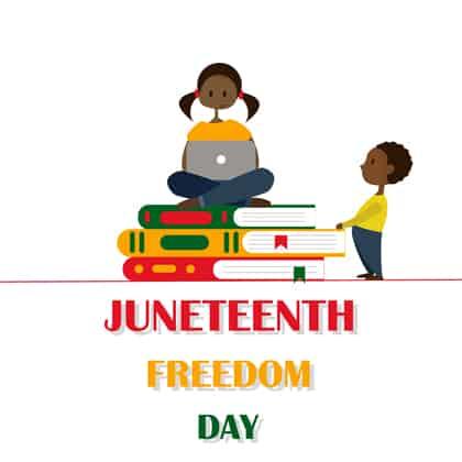 Children celebrating Juneteenth illustration