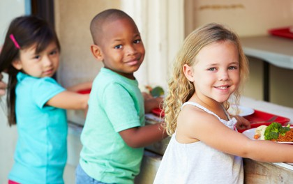 Students getting a nutritious school lunch